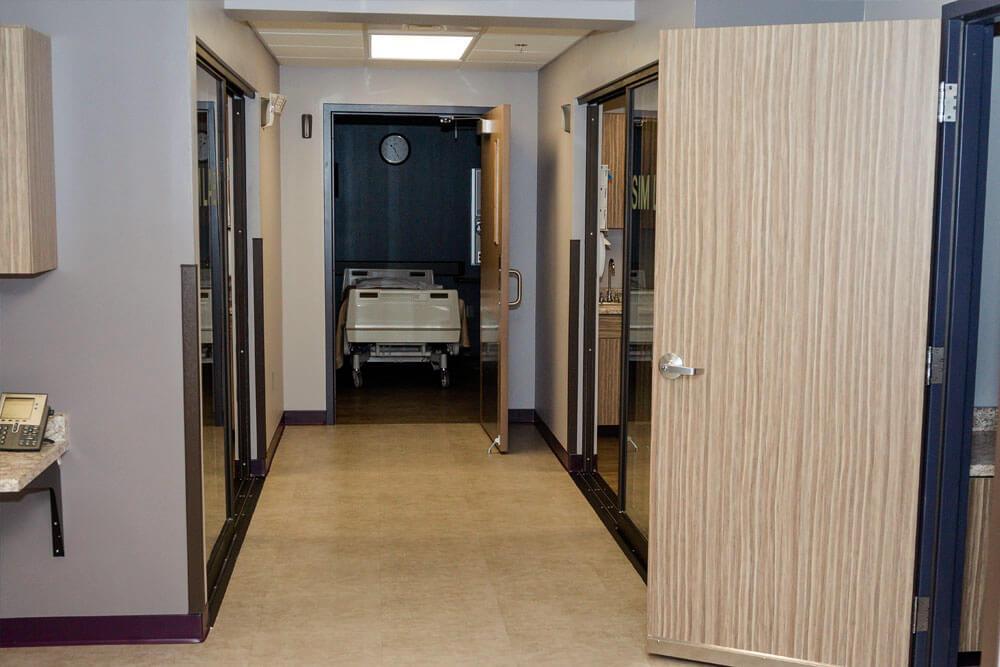 Hallway view of nursing simulation lab