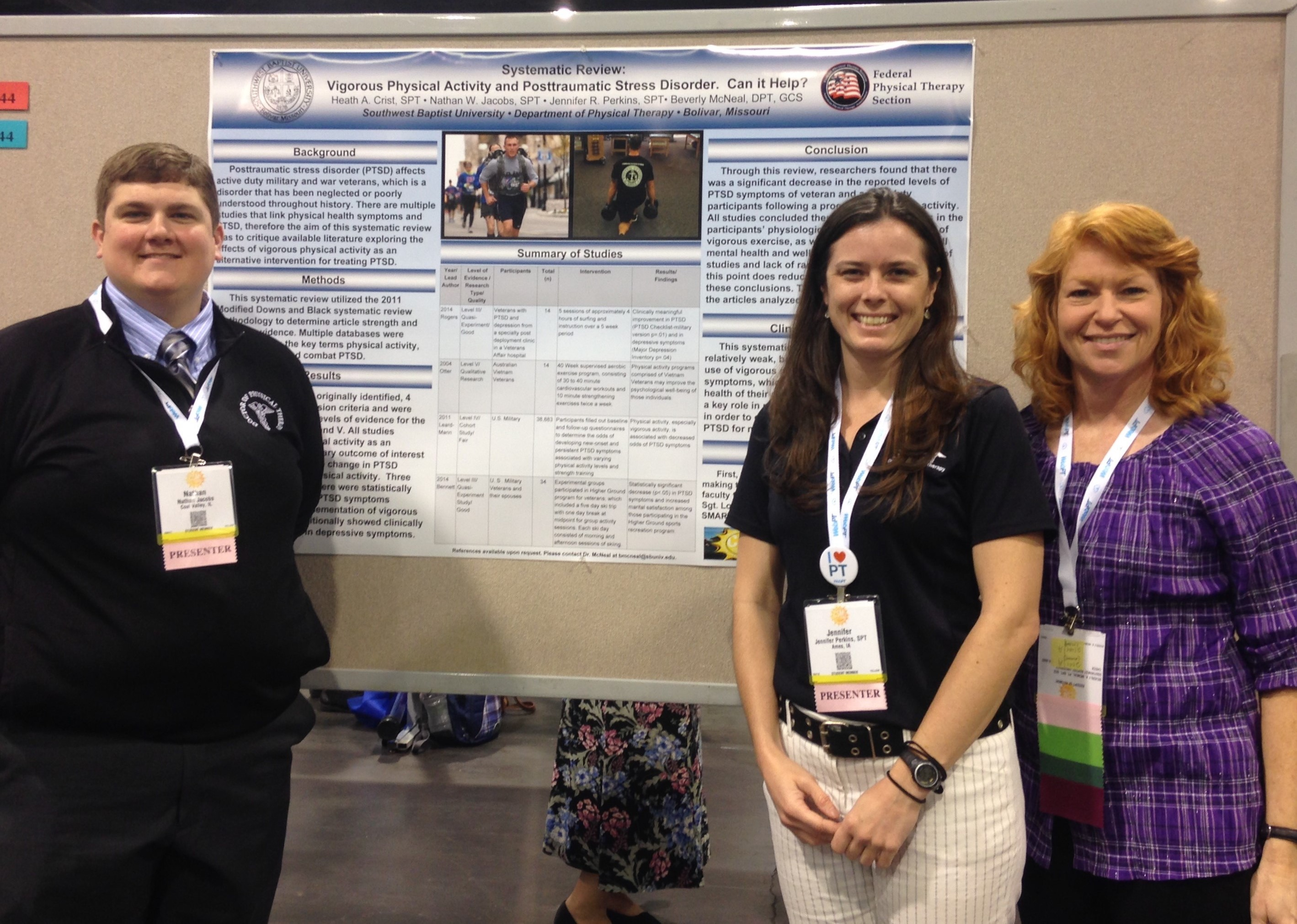 sbu physical therapy faculty students and alumni present research southwest baptist university students nathan jacobs and jennifer perkins and dr bev mcneal associate