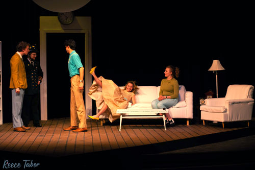 "Max Stoner, Daniel Stucky, Joel Walley, Brittany David and Haley Gill rehearse a scene from""The Bald Soprano."""