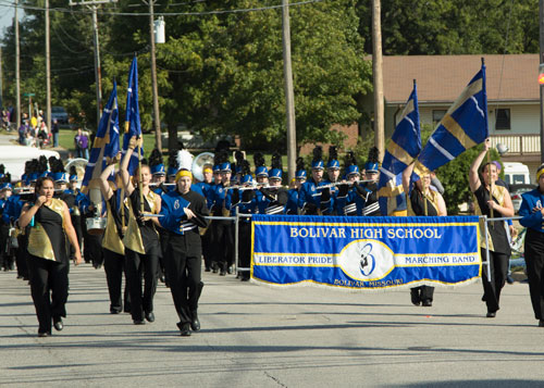 The Bolivar High School band participates in SBU's Homecoming parade.