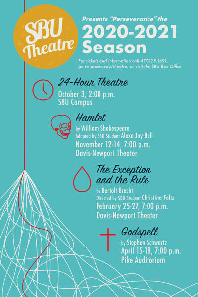 SBU Theatre poster of 2020-2021 season schedule