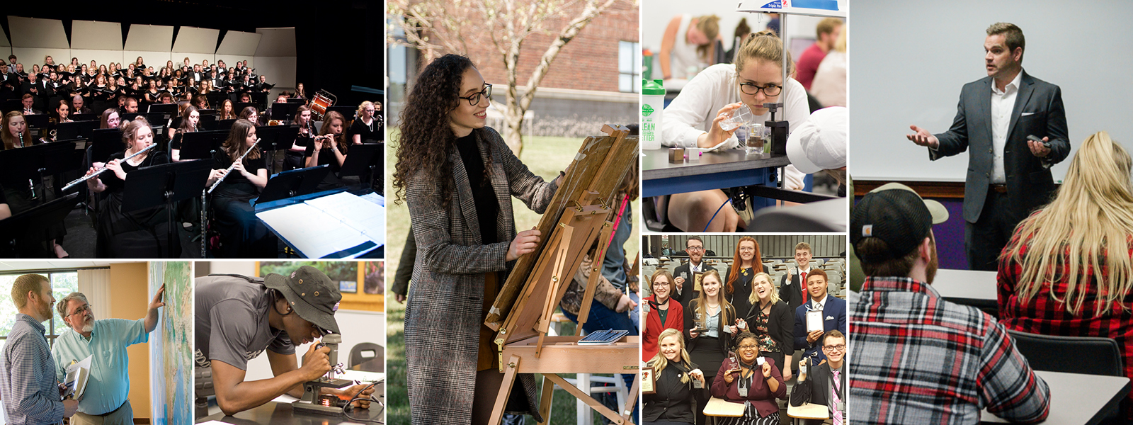 collage of photos showing students at work in areas of art, communication, sciences, etc.