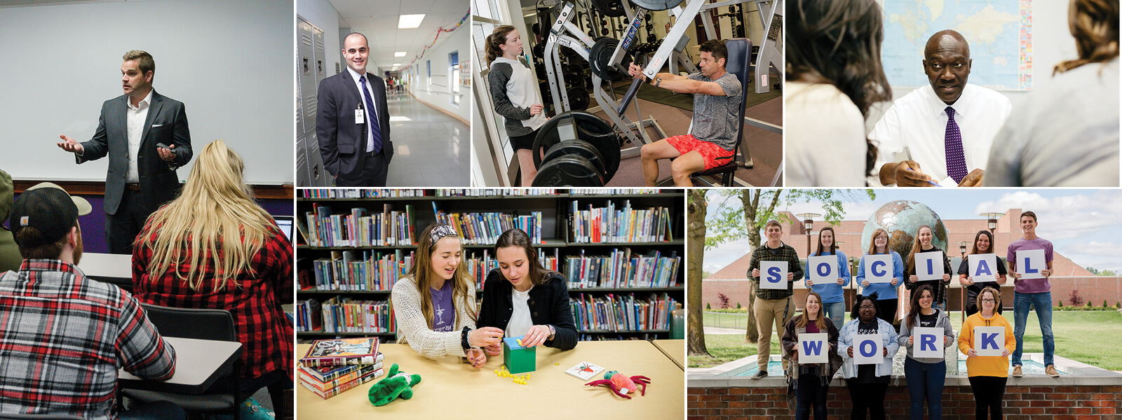 collage of photos showing students in education, exercise science, and political science settings