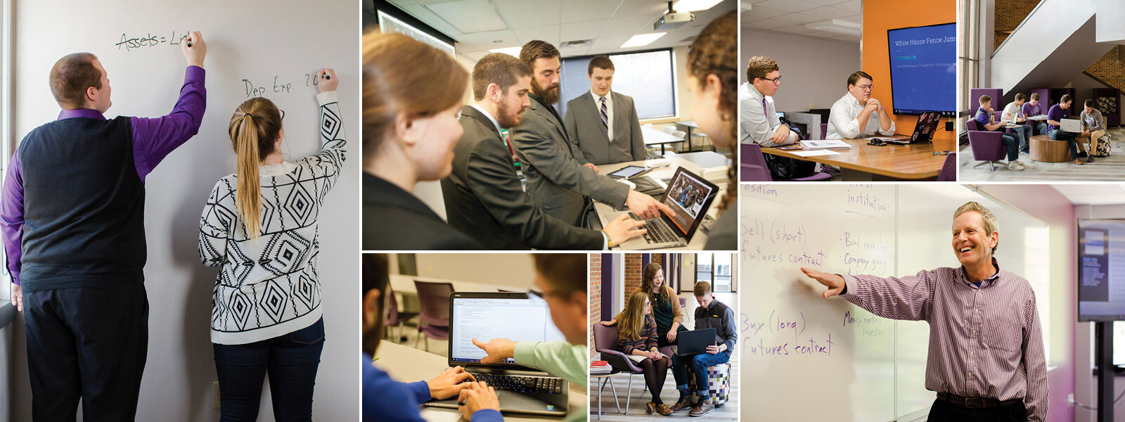 collage of photos showing accounting, business and computer science students