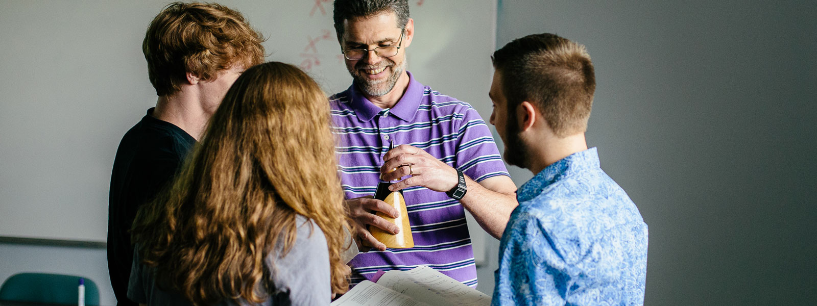 math professor explains diagram on projector