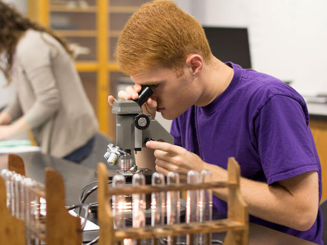 Student looks in microscope in lab classroom