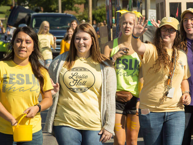 Female students in homecoming parade